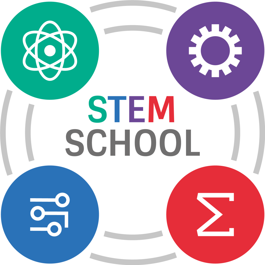 Stem School Sub Logo, with Science, Technology, Engineering, Maths subjects icons